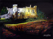 Pastel of Laugharne castle at night by Sherry Owen