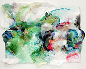 Watercolour collage in greens by Sherry Owen